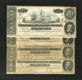 Confederate Notes:1864 Issues, T67 $20 1864 Four Examples.. . ... (Total: 4 notes)