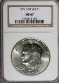 Eisenhower Dollars: , 1971-S $1 Silver MS67 NGC; 1976 Type 1 MS65 NGC.... (Total: 2 Coins Item)