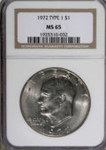 Eisenhower Dollars: , 1972 $1 Type 1 MS65 NGC. NGC Census: (577/20). PCGS Population (290/14). Mintage: 75,890,000. Numismedia Wsl. Price for NGC...
