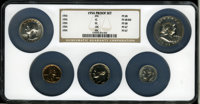 1954 Proof Set Proof Set PR67 thru PR68 NGC. The Set includes; 1954 1C PR68 Red NGC; 1954 5C PR68 NGC; 1954 10C PR67 NGC...