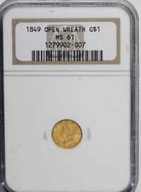 1849 G$1 Open Wreath MS61 NGC. NGC Census: (258/974). PCGS Population (98/651). Mintage: 687,500. Numismedia Wsl. Price...