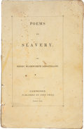 Books:First Editions, Henry Wadsworth Longfellow. Poems on Slavery. Cambridge:John Owen, 1842.. First edition. Small octavo, sewn wrapp...