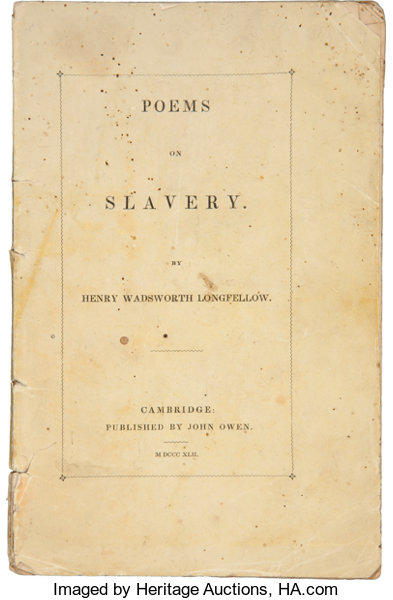 BooksFirst Editions Henry Wadsworth Longfellow Poems On Slavery CambridgeJohn