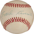 Autographs:Baseballs, 1960's Earl Averill Single Signed Baseball....