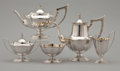 Silver Holloware, American:Coffee Pots, A FIVE-PIECE AMERICAN SILVER AND SILVER GILT TEA AND COFFEESERVICE. Gorham Manufacturing Co., Providence, Rhode Island, cir...(Total: 5 Items Items)