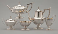 A FIVE-PIECE AMERICAN SILVER AND SILVER GILT TEA AND COFFEE SERVICE Gorham Manufacturing Co., Providence, Rhode Is