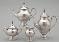 Silver Holloware, American:Coffee Pots, A FOUR-PIECE AMERICAN SILVER TEA AND COFFEE SERVICE . NewportSterling, Providence, Rhode Island, circa 1930. Marks: NEWPO...(Total: 4 Items Items)