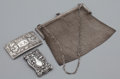 Silver Smalls:Other , AN AMERICAN SILVER HANDBAG, MATCH SAFE AND CALLING CARD CASE .Unknown maker, American, circa 1910. Marks: STERLING . 5...(Total: 3 Items)