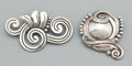 Silver Smalls:Other , TWO MEXICAN SILVER BROOCHES . Unidentified maker, probably Taxco,Mexico, circa 1960. Marks: STERLING, MADE IN MEXICO, DE ...(Total: 2 Items)