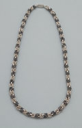 Silver Smalls:Other , A MEXICAN SILVER NECKLACE . Unidentified maker, probably Taxco,Mexico, circa 1950. Marks: MEXICO 925 TU-50. 19 inches (...