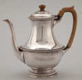 Silver Holloware, British:Holloware, AN ENGLISH SILVER COFFEE POT WITH WOOD HANDLE AND FINAL . Walter H. Willson Ltd, London, England, circa 1948-1949. Marks: (l...