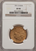 Indian Eagles: , 1911-D $10 XF45 NGC. NGC Census: (70/595). PCGS Population(62/432). Mintage: 30,100. Numismedia Wsl. Price for problem fre...