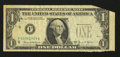 Error Notes:Foldovers, Fr. 1907-F $1 1969D Federal Reserve Note. Fine.. ...
