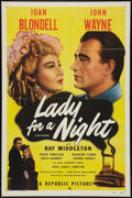 "Movie Posters:Drama, Lady for a Night (Republic, R-1950). One Sheet (27"" X 41""). Drama.. ..."
