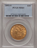 Liberty Eagles: , 1892-S $10 MS61 PCGS. PCGS Population (59/134). NGC Census:(68/104). Mintage: 115,500. Numismedia Wsl. Price for problem f...