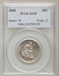 Seated Quarters: , 1844 25C AU55 PCGS. PCGS Population (6/30). NGC Census: (9/48).Mintage: 421,200. Numismedia Wsl. Price for problem free NG...