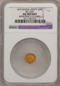 California Fractional Gold: , 1870 50C Liberty Round 50 Cents, BG-1024, Low R.4,--ImproperlyCleaned--NGC Details. AU. NGC Census: (0/20). PCGS Populatio...