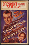 "Movie Posters:Action, California Straight Ahead (Universal, 1937). Window Card (14"" X22""). Action.. ..."