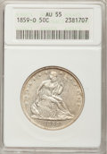 Seated Half Dollars: , 1859-O 50C AU55 ANACS. NGC Census: (14/68). PCGS Population(23/67). Mintage: 2,834,000. Numismedia Wsl. Price for problem ...