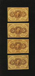 Fractional Currency:First Issue, Four Fr. 1230 5¢ First Issue Notes Fine.. ... (Total: 4 notes)