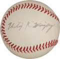 Autographs:Baseballs, 1970's Phillip K. Wrigley Single Signed Baseball....