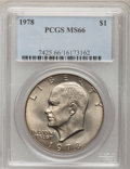 Eisenhower Dollars: , 1978 $1 MS66 PCGS. PCGS Population (308/5). NGC Census: (124/5). Mintage: 25,702,000. Numismedia Wsl. Price for problem fre...