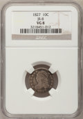 Bust Dimes: , 1827 10C VG8 NGC. JR-8. NGC Census: (3/249). PCGS Population(4/283). Mintage: 1,300,000. Numismedia Wsl. Price for proble...