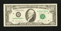 Error Notes:Blank Reverse (<100%), Fr. 2028-D $10 1988A Federal Reserve Note. Extremely Fine-AboutUncirculated.. ...
