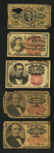 Fractional Currency:Fifth Issue, 10¢ and 25¢ Fractionals Fair or Better.. ... (Total: 5 notes)