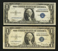 Error Notes:Skewed Reverse Printing, Fr. 1607 $1 1935 Silver Certificate. VF. Fr. 1614 $1 1935E SilverCertificate. Fine.. ... (Total: 2 notes)