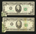 Error Notes:Foldovers, Two $20 FRN's with Similar Errors.. ... (Total: 2 notes)