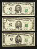 Error Notes:Skewed Reverse Printing, $5 Federal Reserve Note Errors. Three Examples. Fine or Better..... (Total: 3 notes)