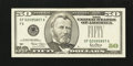 Error Notes:Obstruction Errors, Fr. 2127-F $50 2001 Federal Reserve Note. Extremely Fine.. ...