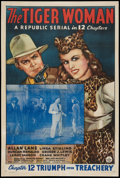 "Movie Posters:Serial, The Tiger Woman (Republic, 1944). One Sheet (27"" X 41"") Chapter 12 -- ""Triumph Over Treachery."" Serial.. ..."