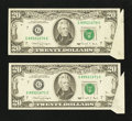 Error Notes:Attached Tabs, Consecutive Pair Fr. 2077-G $20 1990 Federal Reserve Notes. Extremely Fine to About Uncirculated.. ... (Total: 2 notes)