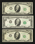 Error Notes:Miscellaneous Errors, Three $10 FRNs with Misaligned Back Printings.. ... (Total: 3 notes)