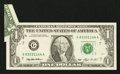 Error Notes:Foldovers, Fr. 1918-G $1 1993 Federal Reserve Note. About Uncirculated.. ...