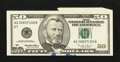 Error Notes:Attached Tabs, Fr. 2126-G $50 1996 Federal Reserve Note. About Uncirculated.. ...