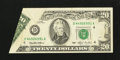 Error Notes:Foldovers, Fr. 2079-D $20 1993 Federal Reserve Note. Very Fine.. ...