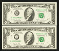 Error Notes:Ink Smears, Fr. 2031-G $10 1995 Federal Reserve Notes. Two Examples. Gem CrispUncirculated.. ... (Total: 2 notes)
