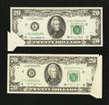 Error Notes:Attached Tabs, Fr. 2070-L $20 1969C Federal Reserve Note. Extremely Fine.. Fr.2076-D $20 1988A Federal Reserve Note. Very Fine-Extremely Fin...(Total: 2 notes)