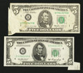 Error Notes:Foldovers, Fr. 1962-D $5 1950A Federal Reserve Note. Extremely Fine.. Fr. 1978-A $5 1985 Federal Reserve Note. Very Fine.. ... (Total: 2 notes)