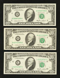 Error Notes:Ink Smears, Three $10 FRNs with Green Ink Smears on the Backs.. ... (Total: 3notes)