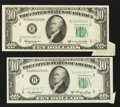Error Notes:Foldovers, Fr. 2011-B $10 1950A Federal Reserve Note. VF. Fr. 2014-B $10 1950DFederal Reserve Note. VF with a small spot.. ... (Total: 2 notes)