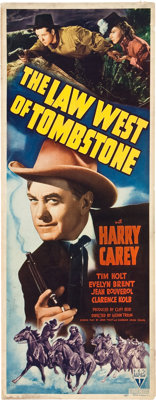 """The Law West of Tombstone (RKO, 1938). Insert (14"""" X 36""""). Western"""
