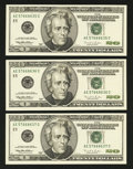 Error Notes:Inking Errors, Fr. 2084-E $20 1996 Federal Reserve Notes. Three Consecutive Examples. Very Choice Crisp Uncirculated.. ... (Total: 3 notes)