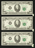 Error Notes:Foldovers, Fr. 2071-E $20 1974 Federal Reserve Notes. Three ConsecutiveExamples. Extremely Fine.. ... (Total: 3 notes)