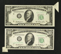 Error Notes:Attached Tabs, Fr. 2011-E $10 1950A Federal Reserve Note. Extremely Fine.. Fr.2012-G $10 1950B Federal Reserve Note. Choice Crisp Uncirc...(Total: 2 notes)