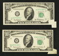 Error Notes:Foldovers, Fr. 2012-G $10 1950B Federal Reserve Note. Very Fine.. Fr. 2013-B$10 1950C Federal Reserve Note. About Uncirculated.. ... (Total: 2notes)
