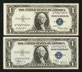 Error Notes:Obstruction Errors, Fr. 1611 $1 1935B Silver Certificate. About Uncirculated;. Fr. 1614$1 1935E Silver Certificate. Choice Crisp Uncirculated.... (Total:2 notes)